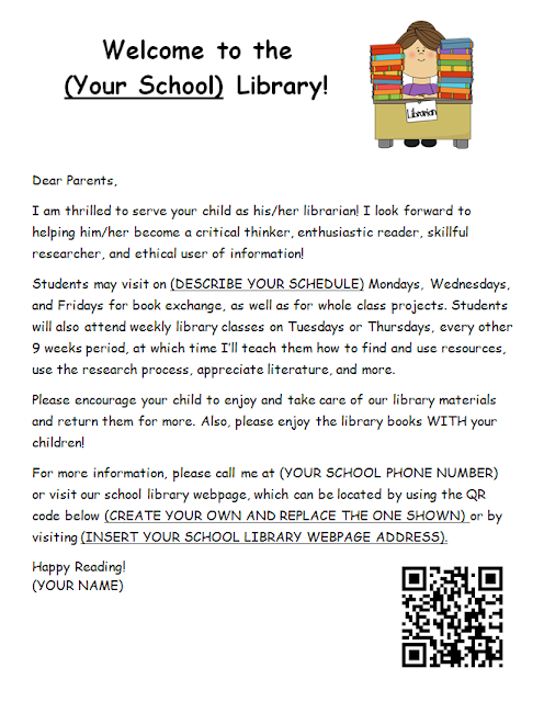 Library Safari: Library Welcome Letter to Parents