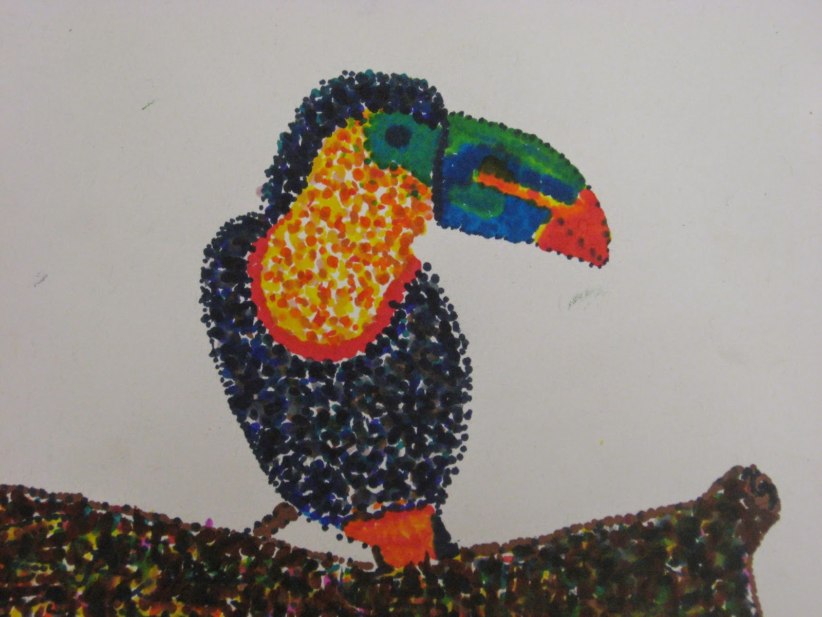 Miss young 39 s art room pointillism birds with 5th grade for Craft work for class 3