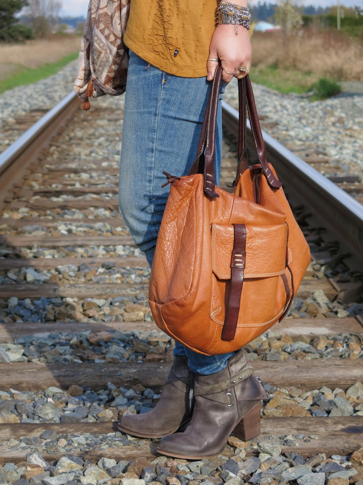 skinny jeans, Wishbone Collection booties, cognac satchel