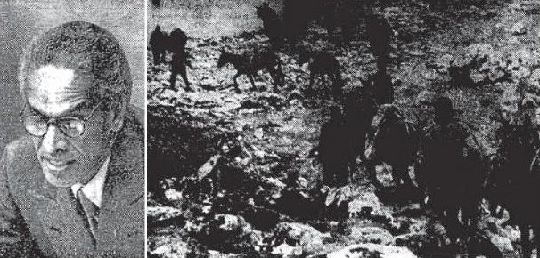 Defence Minister Krishna Menon (Left) and Mule paths (Right) that served as the lone supply source for the armed policemen in Laddakh