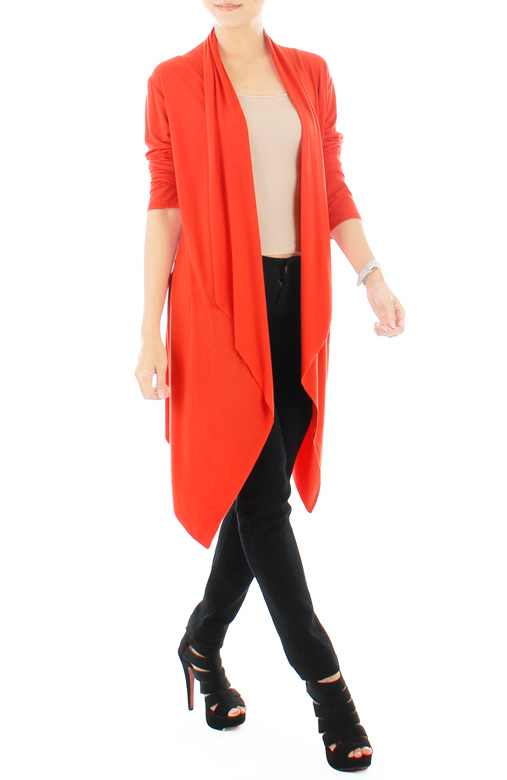 Curtained Waterfall Cardigan in Bright Orange