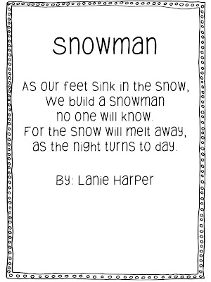 Melted Snowman Poem To grab the melted snowman