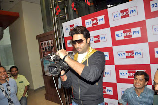 Abhishek take video camera at BIG FM radion