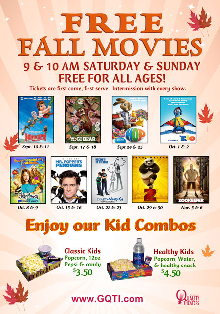 Savvy Spending: Free Fall Movies for kids at Goodrich Theaters