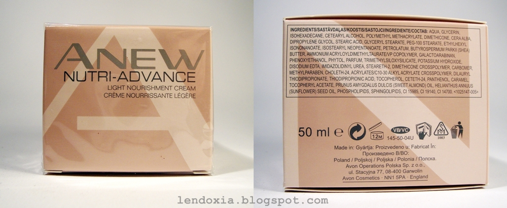 Avon Anew Nutri Advance face cream ingredients