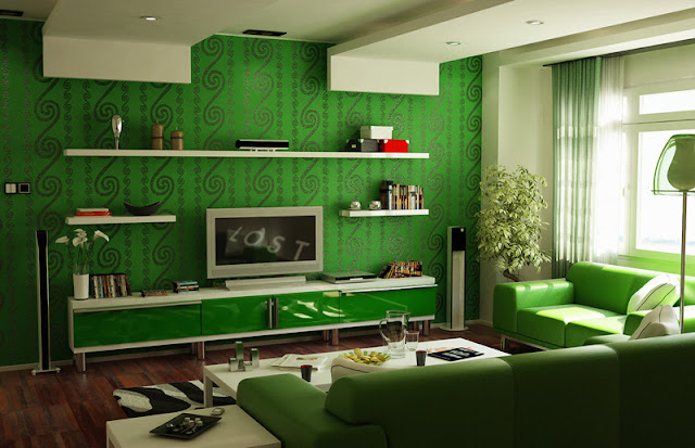 Green living room design photo