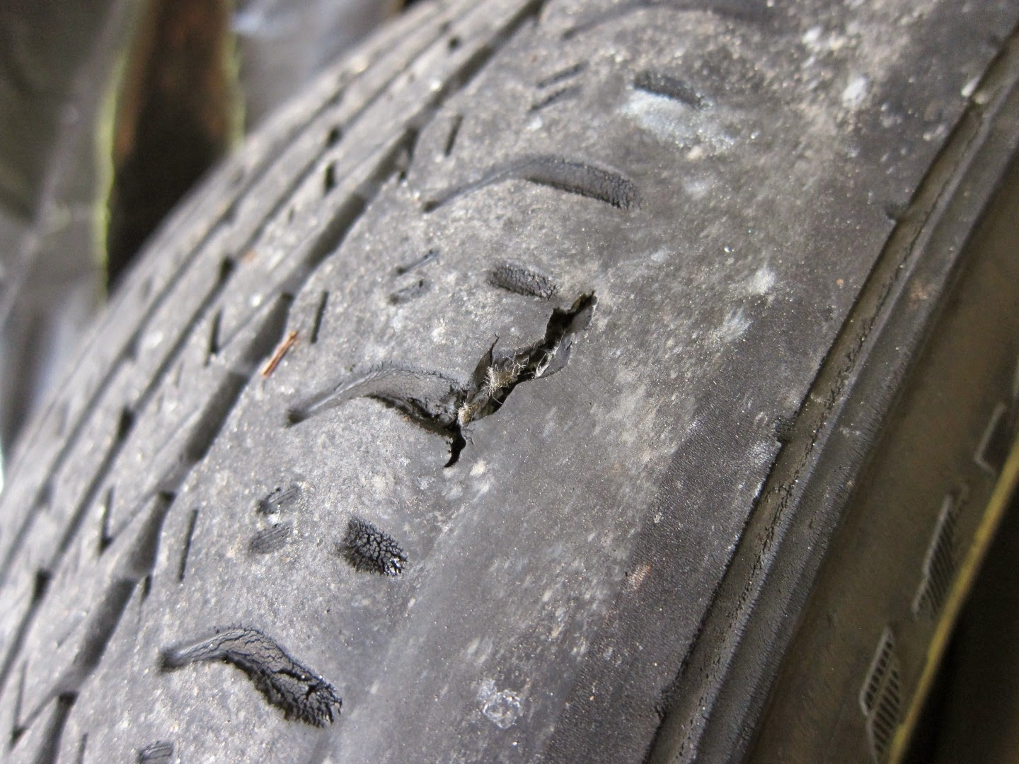 wear on sidewall of tires, hole, puncture