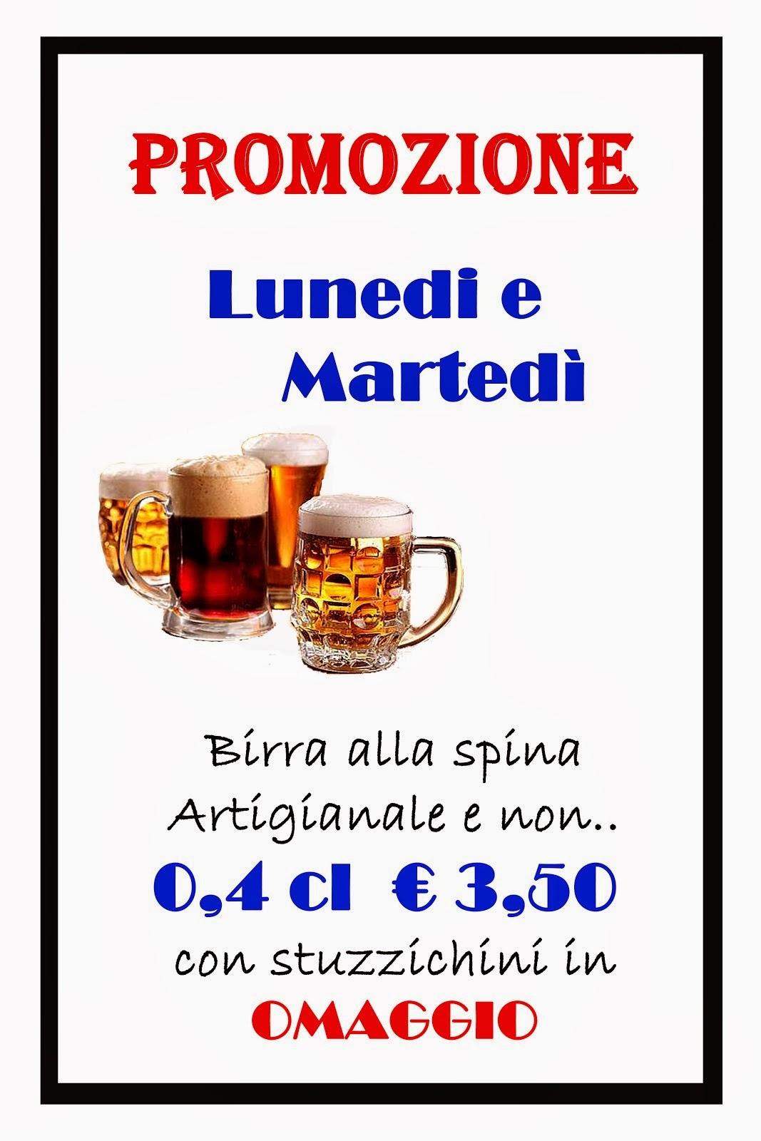 tutti i lunedi e martedi birra alla spina 0,4cl a 3,50 euro