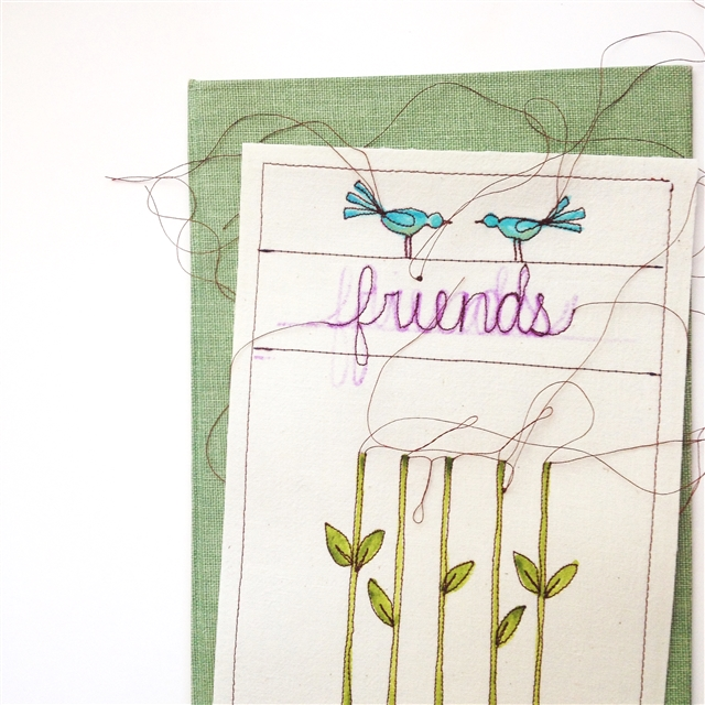 work in progress for a stitched illustration from MamaBleuDesigns