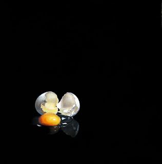 realistic oil painting of a broken egg by jeanne vadeboncoeur