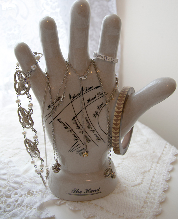 Ceramic palm reading hand model. Easy upcycled jewellery organisers (jewelry organizers) that you can make form everyday found objects give an alternative way to display jewellery.