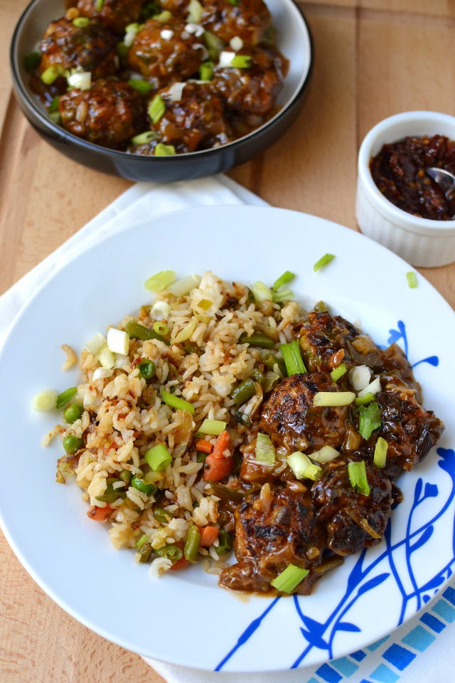 Schezwan Fried Rice with Vegetable Manchurian (Indo-Chinese Recipes)
