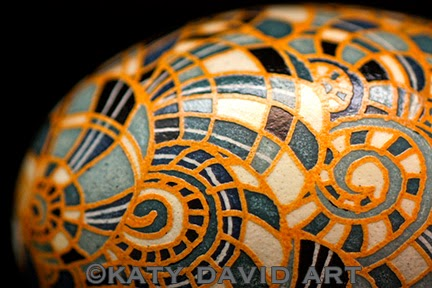 Non-Traditional Pysanky Snail Shell Design in Blues, Grays, Whites and Yellow