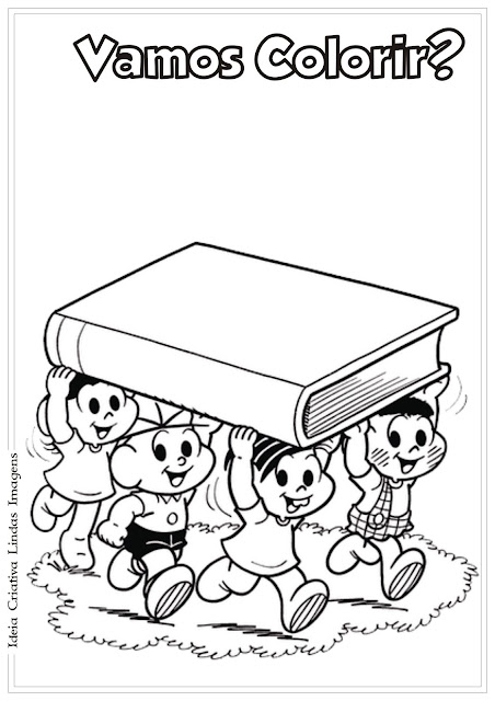 Desenho Volta às Aulas para colorir Turma da Mônica