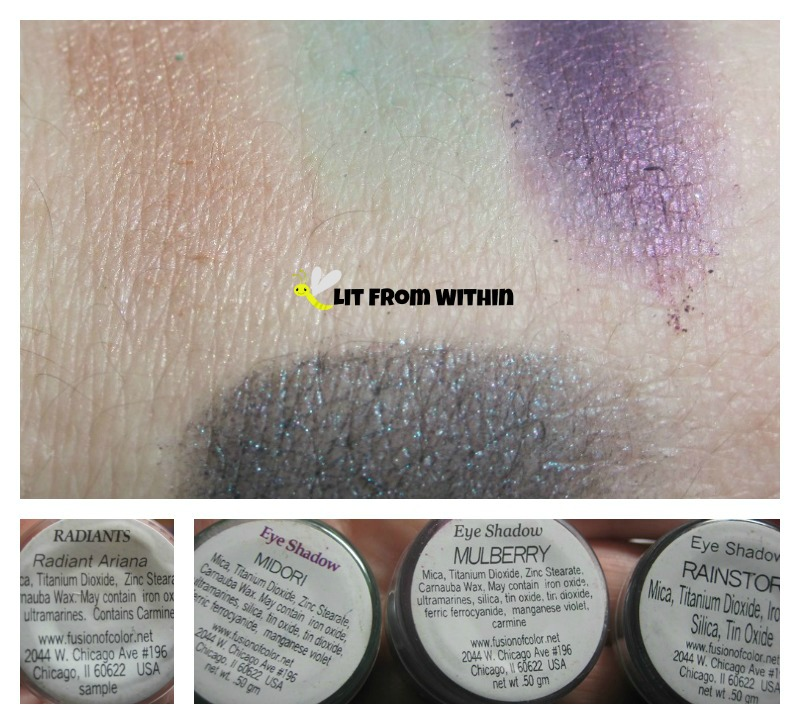 Fusion of Color Radiant Ariana, and eyeshadows in Midori, Mulberry, and Rainstorm.