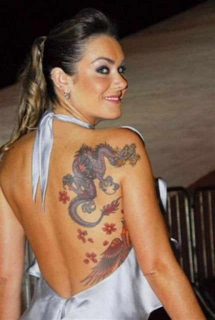 Women back Dragon Tattoo Art