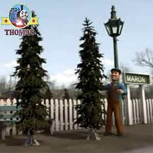 Thomas the train engine rattled his rods they are not grand by any means weak weedy Christmas trees