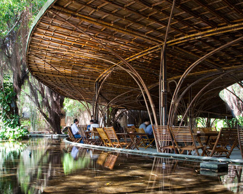 Lounge Or Cafe Architecture Design With Bamboo Roof