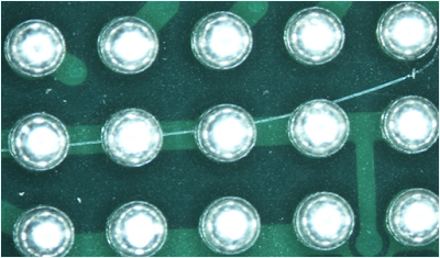 Devices show scratches beneath solder spheres