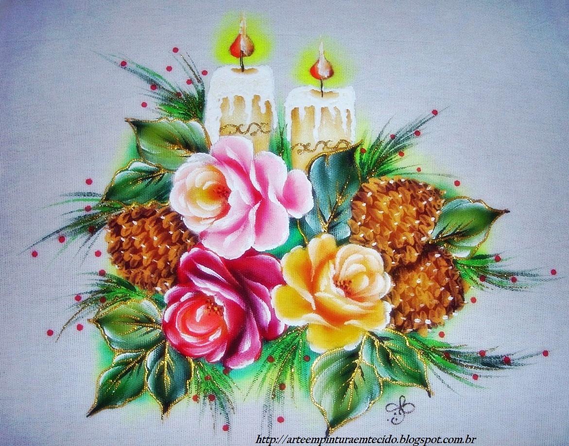 Pintura Em Tecido Natal Velas   Rosas   Pinhas