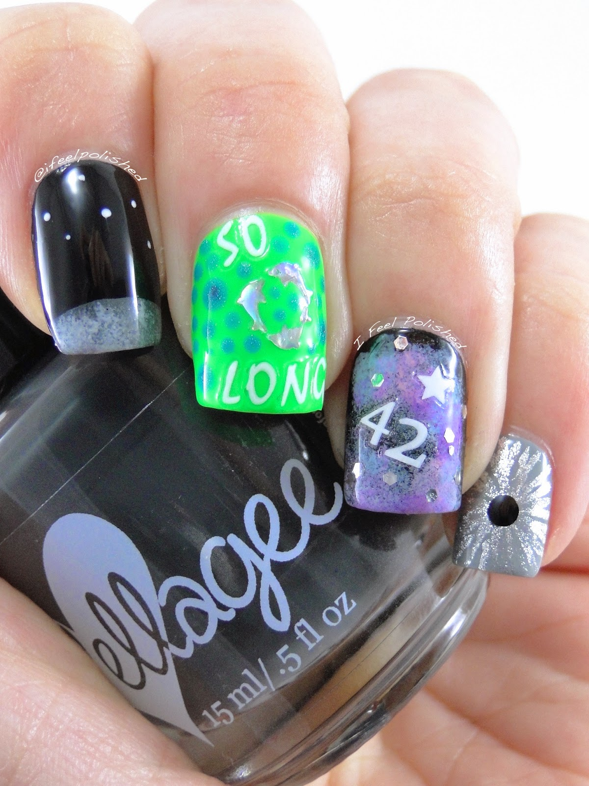 Hitchhiker's Guide to the Galaxy Nail Art