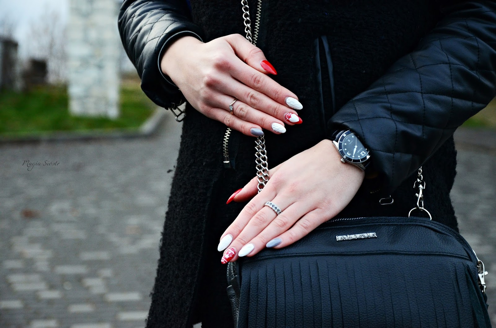 zimowe paznokcie, zimowa stylizacja paznokci, zimowe wzory na paznokciach, paznokcie świąteczne