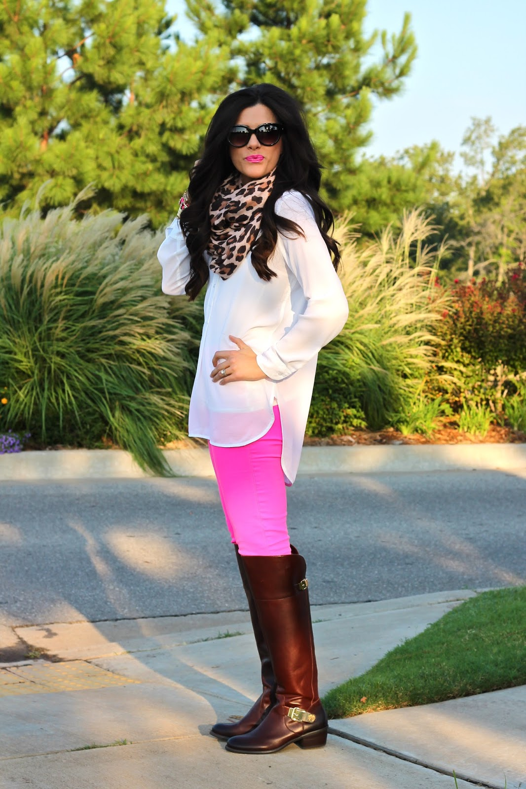 fall fashion, fall 2014 fashion, hot pink pants, white tunic, leopard print scarf, leopard scarf, cat eye sunglasses, forever 21, j.crew, h&m, brunette, vince camuto, fall boots, over the knee boots, over the knee leather boots, vince camuto bocca boot, bocca boot, fall boots nordstrom, michael kors gold watch, fashion blog, fashion bloggers