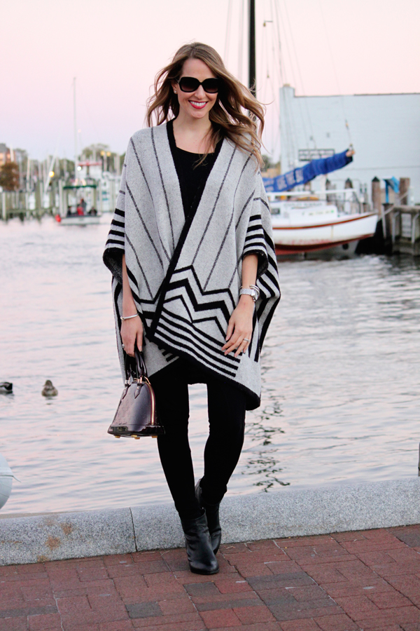 Fall uniform: striped poncho, leggings & ankle booties