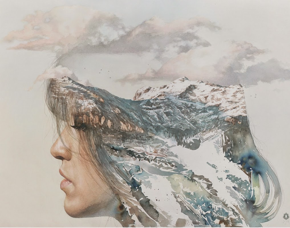 14-Oriol-Angrill-Jordà-Double Exposure-Watercolor-Paintings-www-designstack-co
