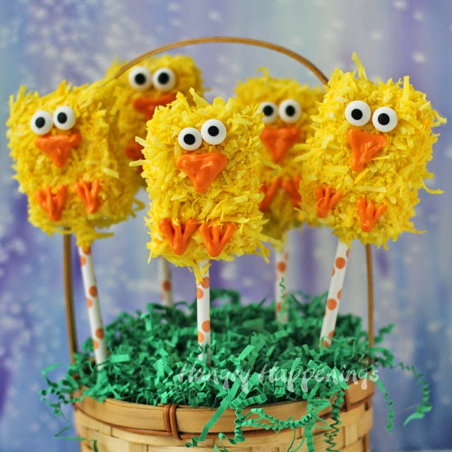 Easter Rice Krispies Treat Chick Pops