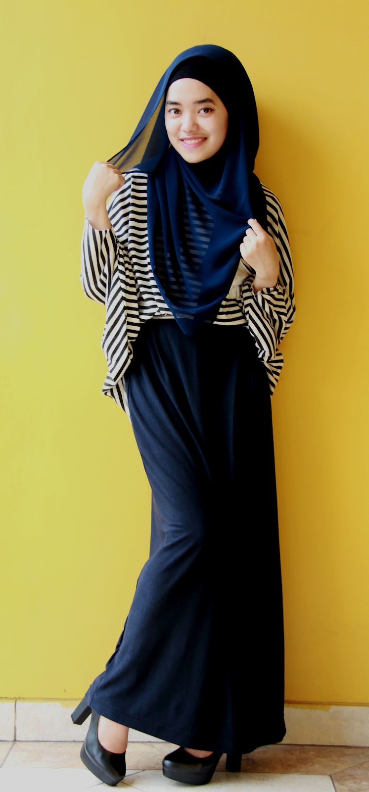 Model Baju Muslim Casual Stripped Tutorial Hijab
