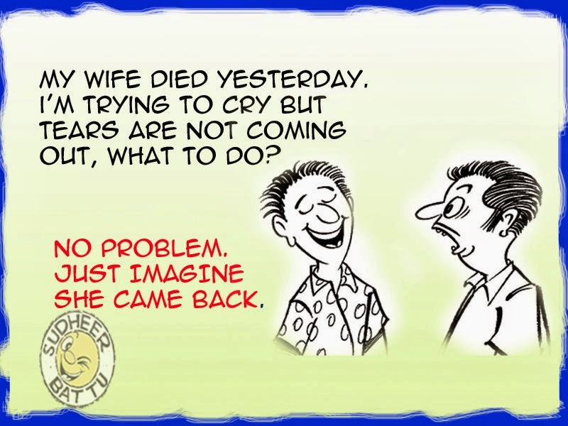 Joke, Humor Cartoon on dead Wife