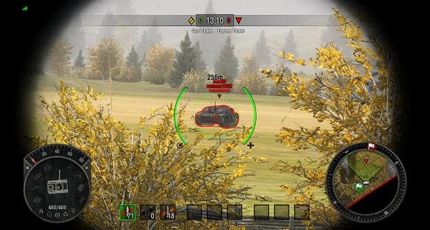 Pantalla del juego World of Tanks en Xbox 360