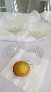 Pair of Château des Charmes Sauvignon Blanc with Candy Onion Glazed Goat's Cheese and Chive Muffin with Crème Fraiche