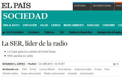 El País se hace eco de los resultados de la SER