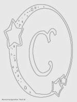 Mewarnai Gambar Huruf Alfabet C Bergaya Bulan Bintang