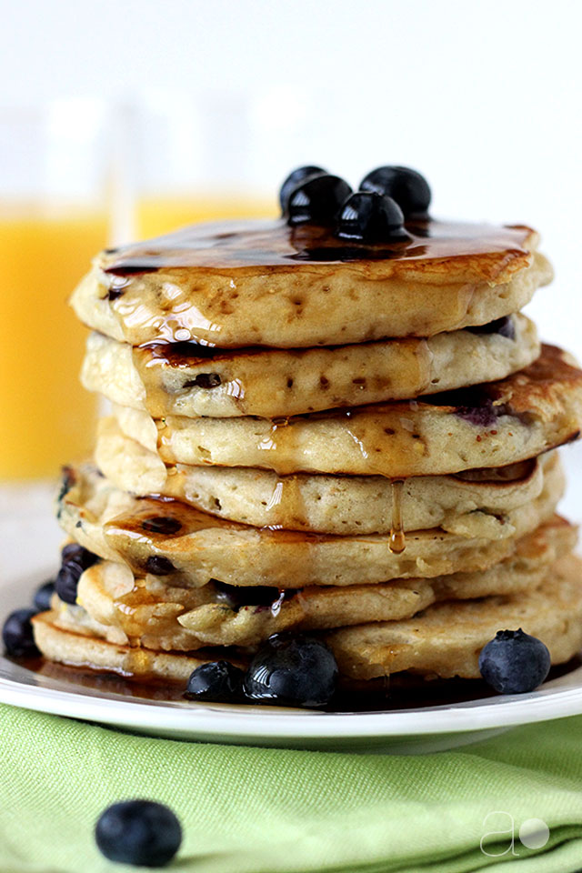 ambrosia: Blueberry and Peach Yogurt Buttermilk Pancakes