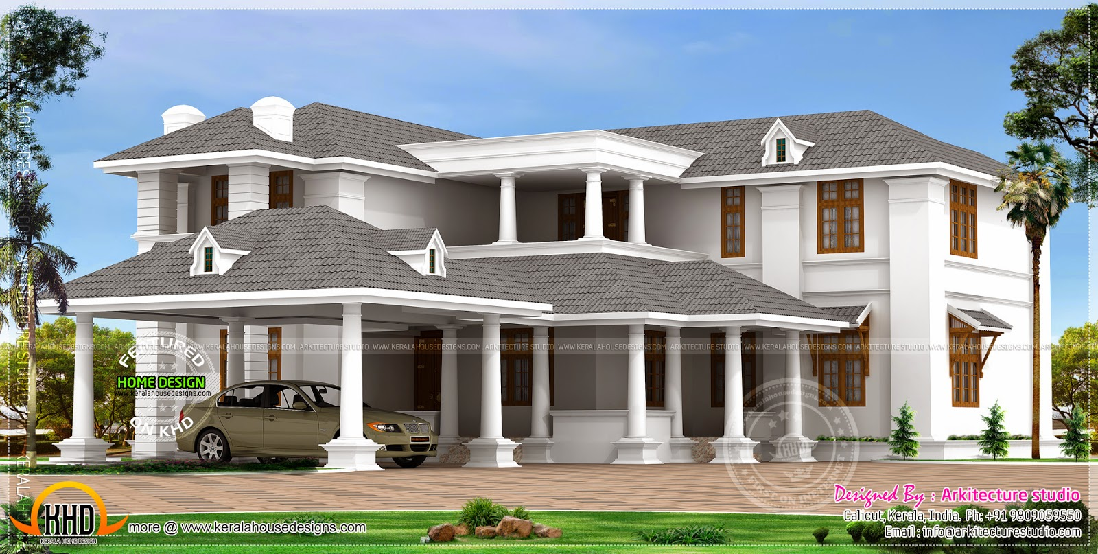 Three Bedroom House Design Pictures Impressive 3057 Sq Ft Attractive Kerala House Design  Kerala 2018