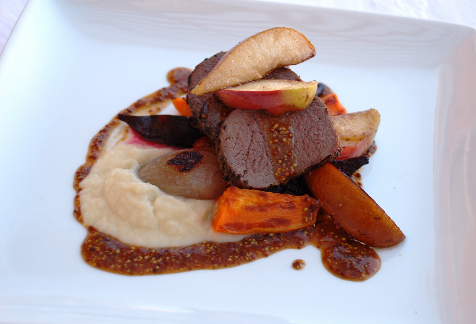 RoastedVenison Loin, Celery Root Silk, Roasted Sweet Potato and Beets ...
