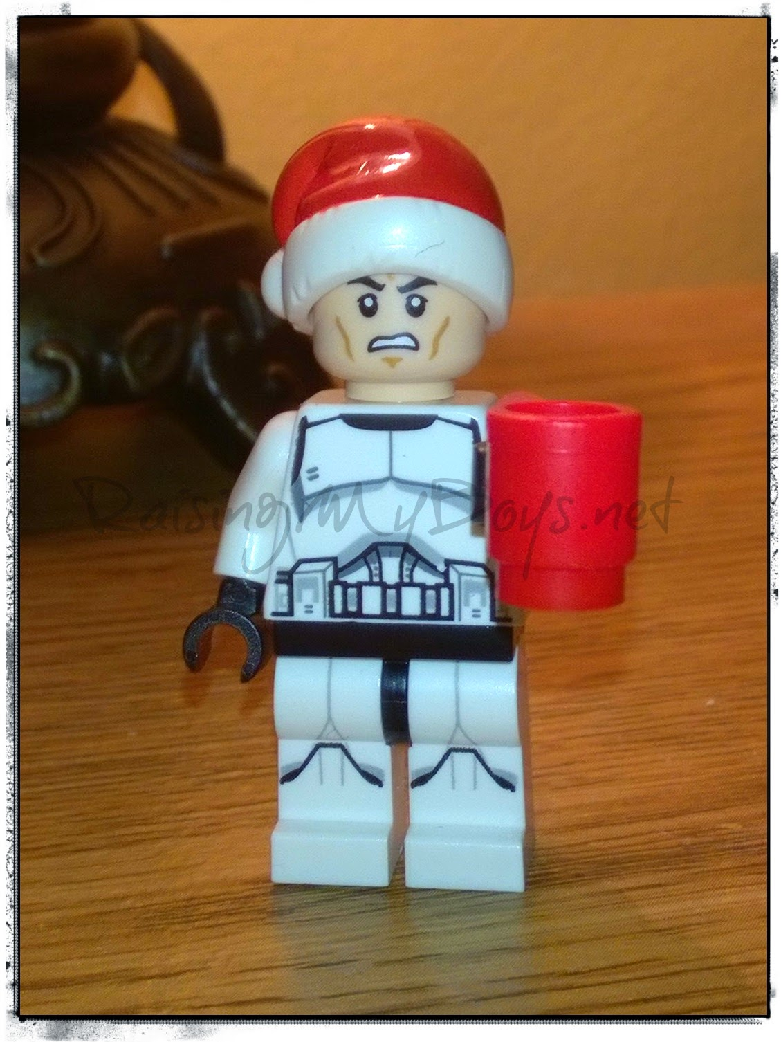 cranky Lego figure with mug