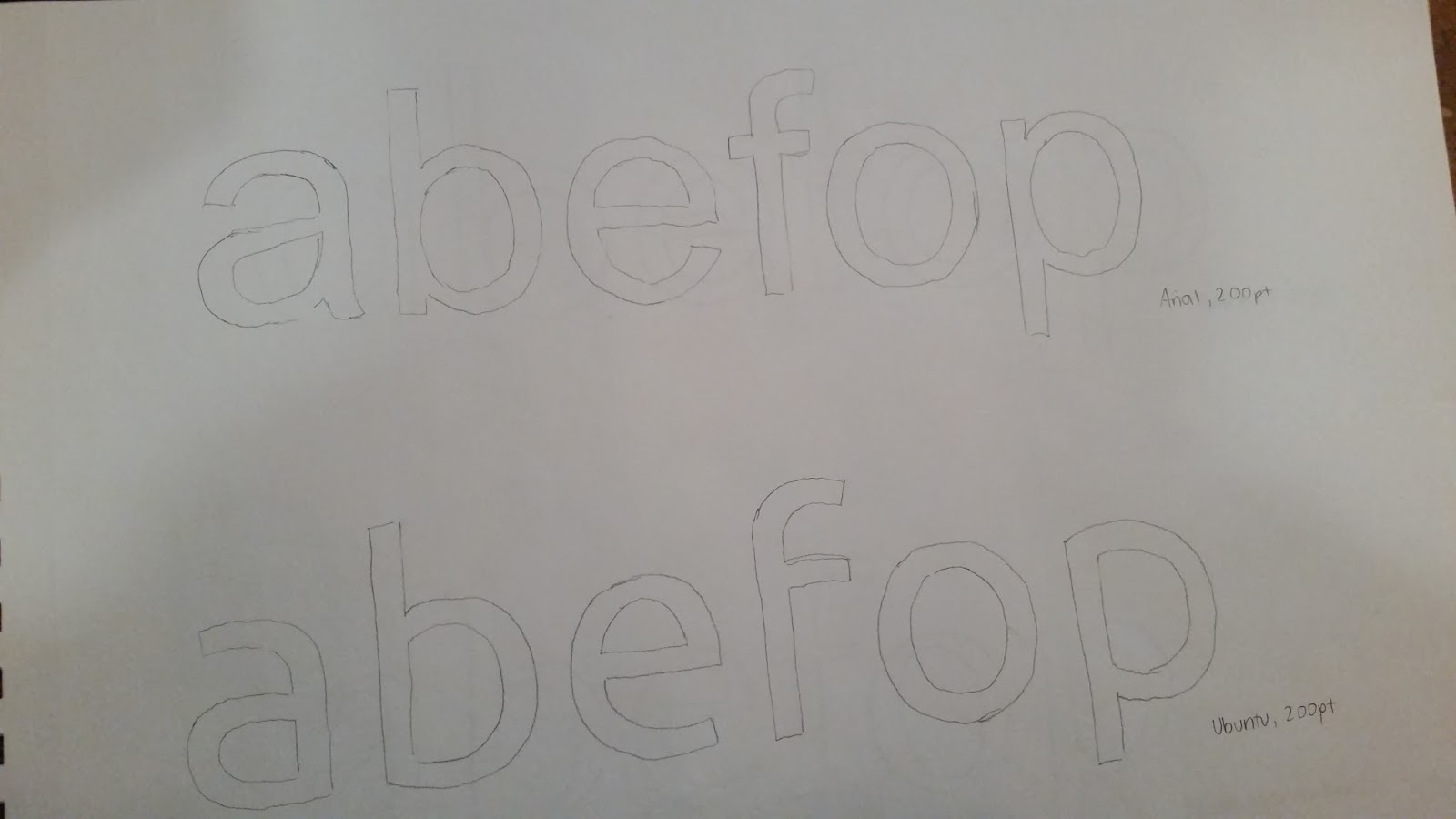 Week 1 Assignment : Tracing (Compare Fonts) | Typography 2
