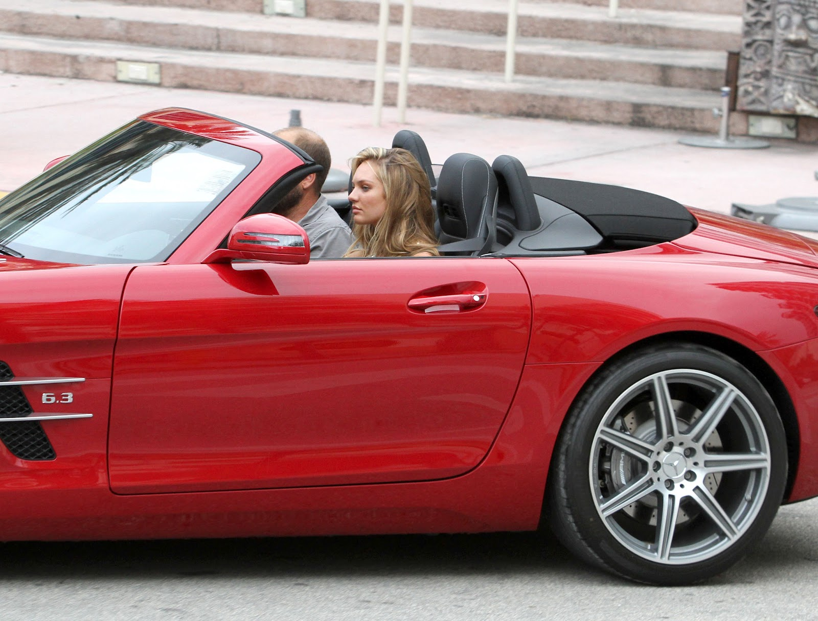 photo of Candice Swanepoel Red Convertible - car