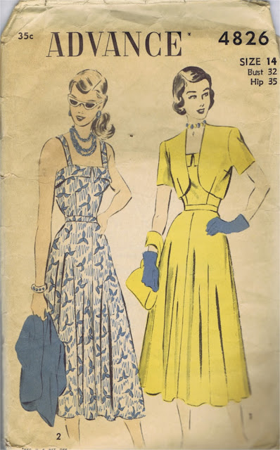 1940s sleeveless sundress bolero pattern Just Peachy, Darling