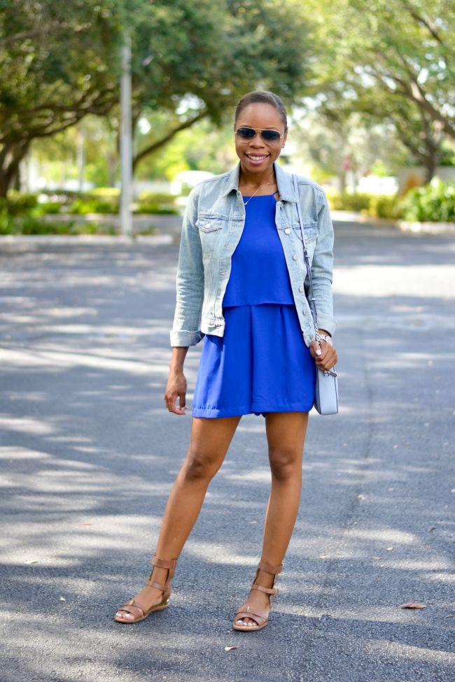 Romper & Denim Jacket | Summer Outfits