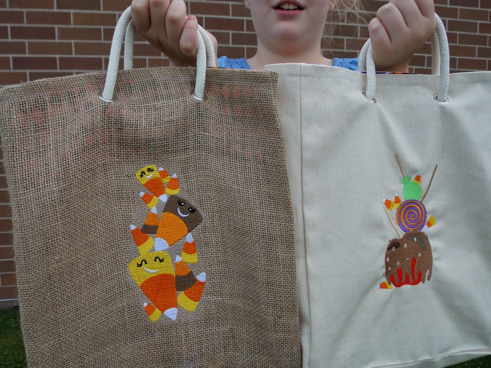 Halloween Canvas and Burlap Candy Bags