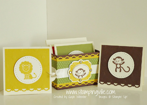 Mini 3x3 Card Set and Box With Fox & Friends Stamp Set by Stampin' Up!