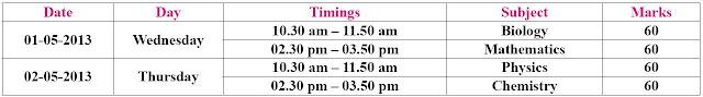 Karnataka CET Exam Time Table