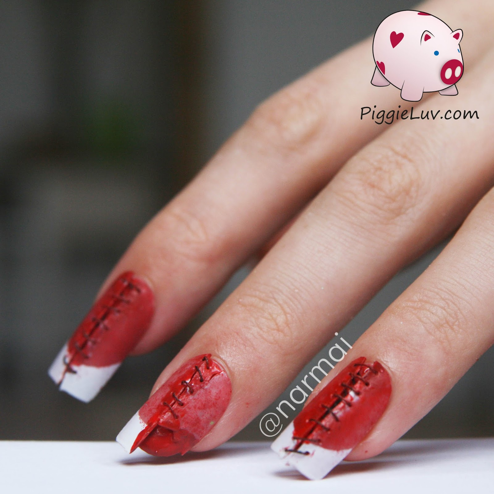 PiggieLuv: Bloody stitches nail art for Halloween