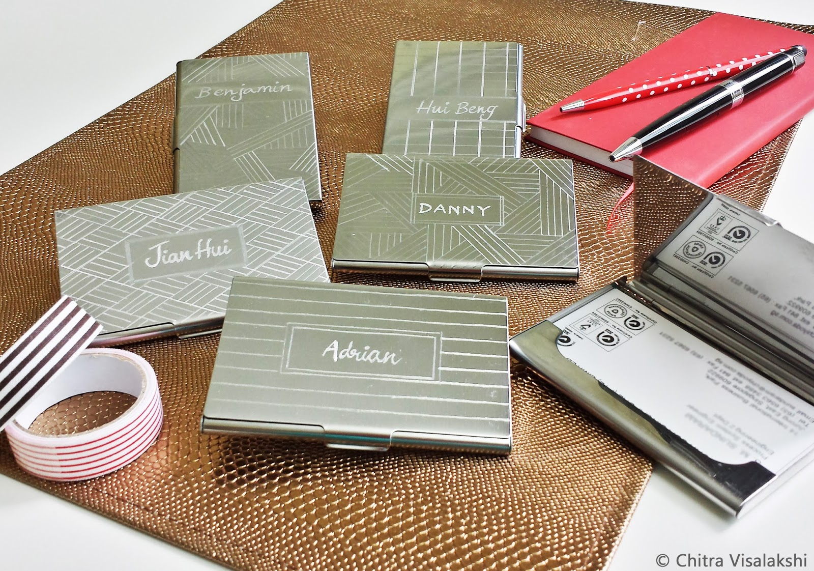 Craft with chitra business card holders personalized engraving these business card holders are stainless steel sleek and engraved with customized designs and logos each case can hold upto 15 standard size business colourmoves