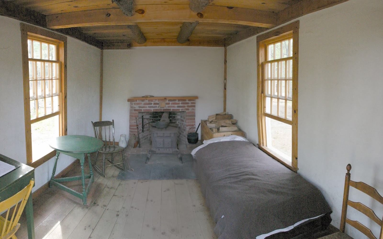 Interior of Thoreaus Cabin, bed, table, chairs